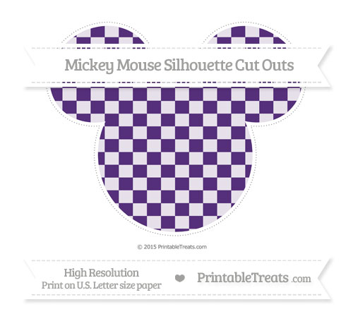 Free Royal Purple Checker Pattern Extra Large Mickey Mouse Silhouette Cut Outs