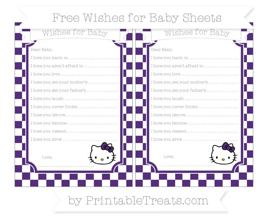 Free Royal Purple Checker Pattern Hello Kitty Wishes for Baby Sheets
