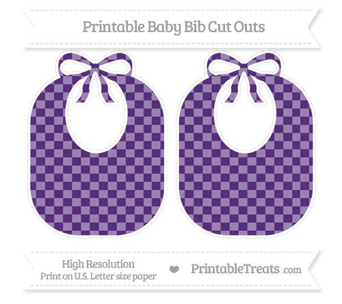 Free Royal Purple Checker Pattern Large Baby Bib Cut Outs