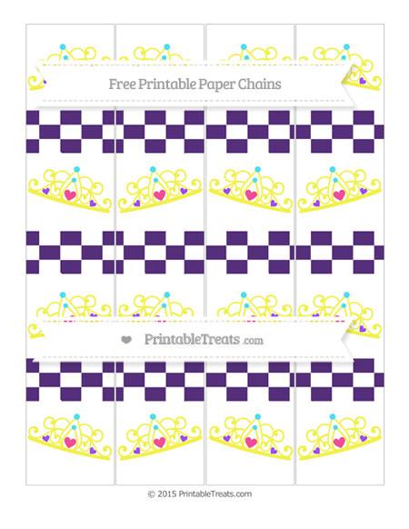 Free Royal Purple Checker Pattern Princess Tiara Paper Chains