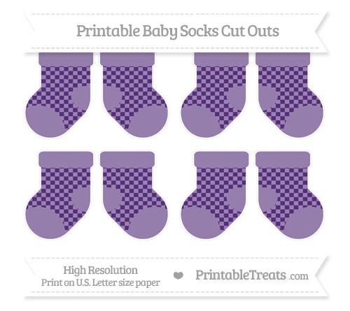 Free Royal Purple Checker Pattern Small Baby Socks Cut Outs