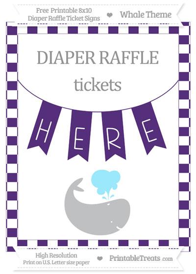 Free Royal Purple Checker Pattern Whale 8x10 Diaper Raffle Ticket Sign