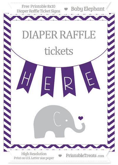 Free Royal Purple Chevron Baby Elephant 8x10 Diaper Raffle Ticket Sign