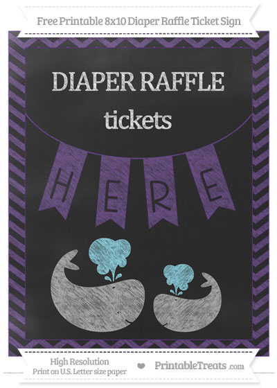 Free Royal Purple Chevron Chalk Style Baby Whale 8x10 Diaper Raffle Ticket Sign