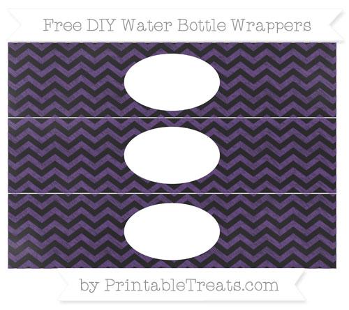 Free Royal Purple Chevron Chalk Style DIY Water Bottle Wrappers