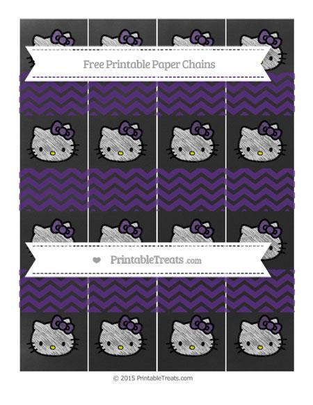 Free Royal Purple Chevron Chalk Style Hello Kitty Paper Chains