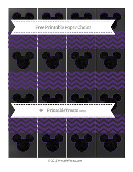 Free Royal Purple Chevron Chalk Style Mickey Mouse Paper Chains