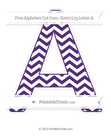 Free Royal Purple Chevron Extra Large Capital Letter A Cut Outs