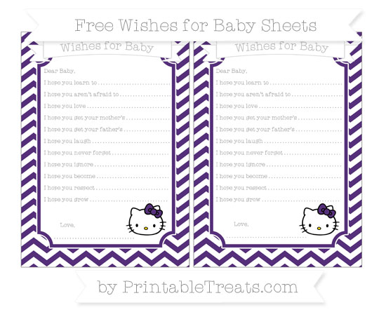 Free Royal Purple Chevron Hello Kitty Wishes for Baby Sheets
