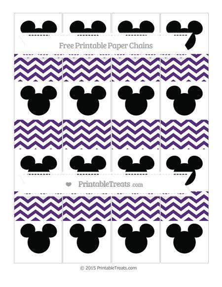 Free Royal Purple Chevron Mickey Mouse Paper Chains