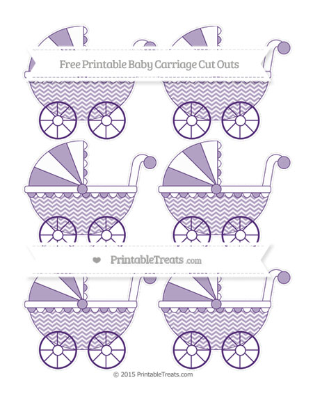 Free Royal Purple Chevron Small Baby Carriage Cut Outs