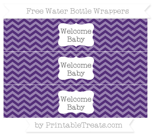Free Royal Purple Chevron Welcome Baby Water Bottle Wrappers