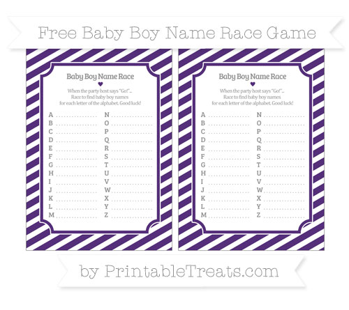 Free Royal Purple Diagonal Striped Baby Boy Name Race Game
