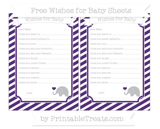 Free Royal Purple Diagonal Striped Baby Elephant Wishes for Baby Sheets