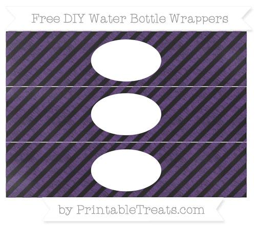 Free Royal Purple Diagonal Striped Chalk Style DIY Water Bottle Wrappers