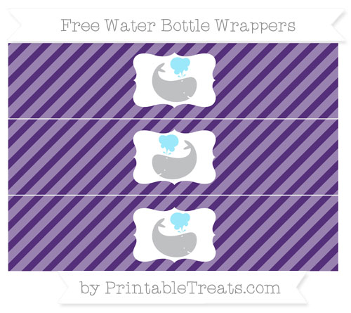 Free Royal Purple Diagonal Striped Whale Water Bottle Wrappers