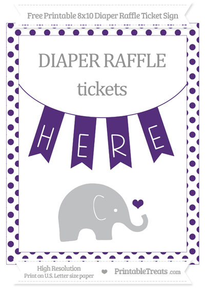 Free Royal Purple Dotted Baby Elephant 8x10 Diaper Raffle Ticket Sign