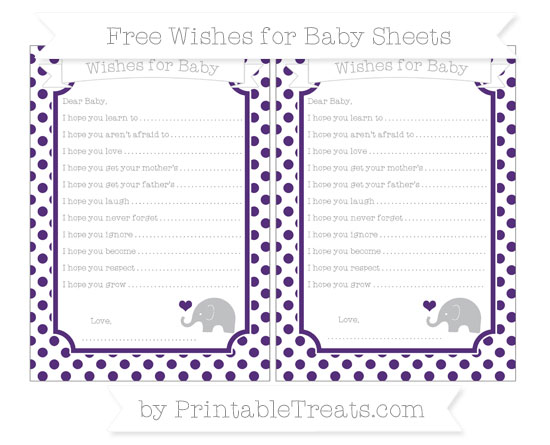 Free Royal Purple Dotted Pattern Baby Elephant Wishes for Baby Sheets