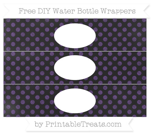 Free Royal Purple Dotted Pattern Chalk Style DIY Water Bottle Wrappers