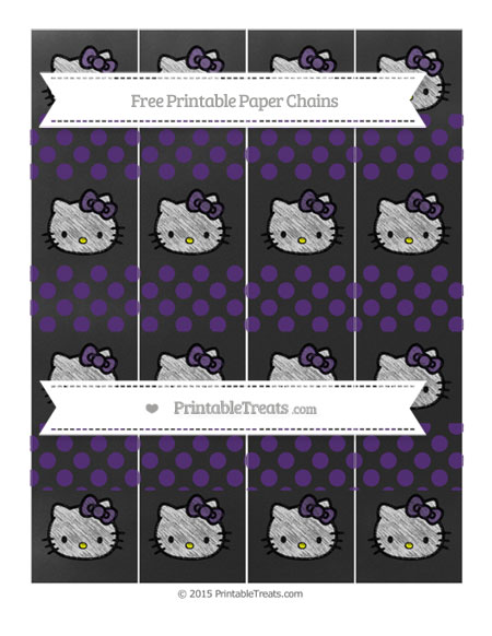 Free Royal Purple Dotted Pattern Chalk Style Hello Kitty Paper Chains