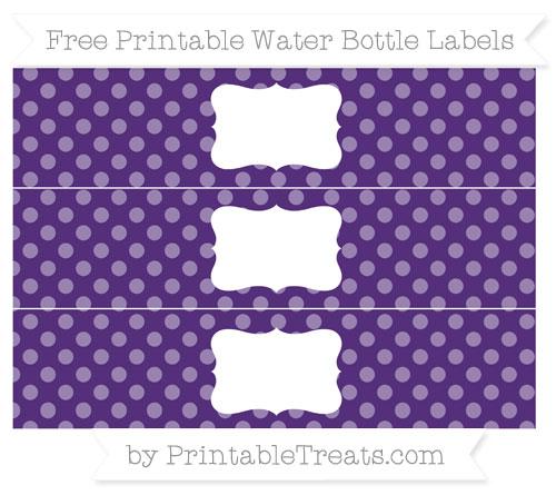 Free Royal Purple Dotted Pattern Water Bottle Labels