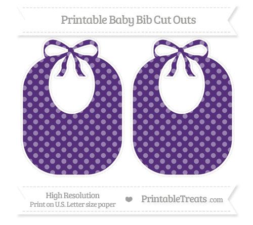Free Royal Purple Dotted Pattern Large Baby Bib Cut Outs