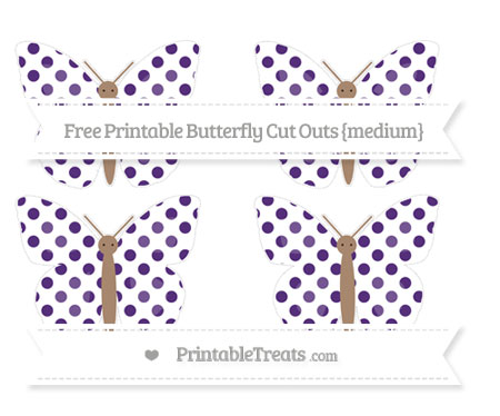 Free Royal Purple Dotted Pattern Medium Butterfly Cut Outs