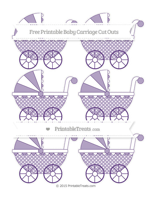 Free Royal Purple Dotted Pattern Small Baby Carriage Cut Outs