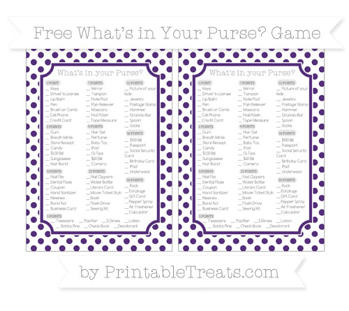 Free Royal Purple Dotted Pattern What's in Your Purse Baby Shower Game
