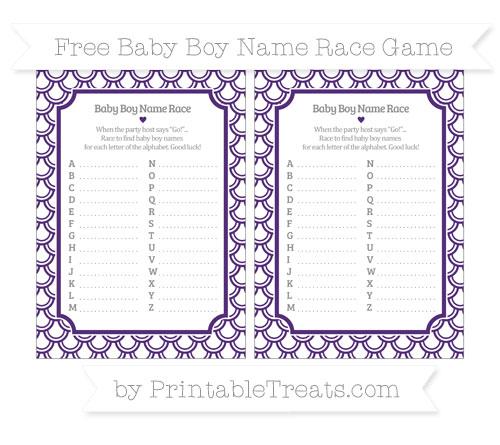 Free Royal Purple Fish Scale Pattern Baby Boy Name Race Game