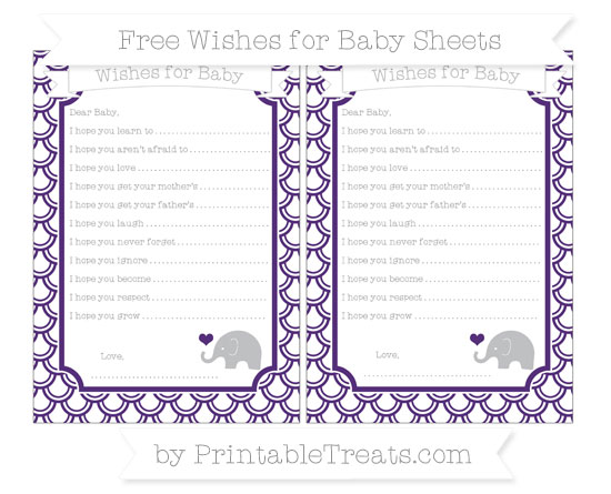 Free Royal Purple Fish Scale Pattern Baby Elephant Wishes for Baby Sheets