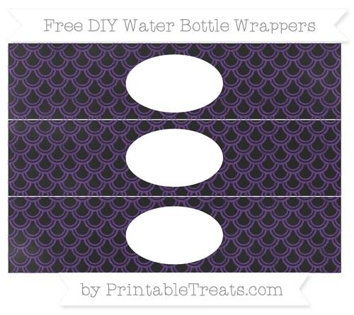Free Royal Purple Fish Scale Pattern Chalk Style DIY Water Bottle Wrappers