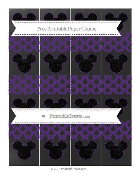 Free Royal Purple Fish Scale Pattern Chalk Style Mickey Mouse Paper Chains