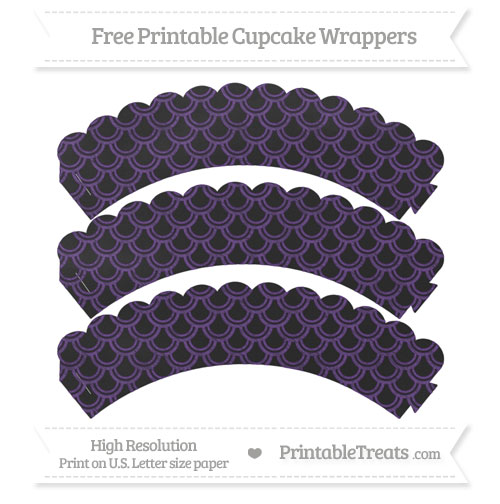 Free Royal Purple Fish Scale Pattern Chalk Style Scalloped Cupcake Wrappers