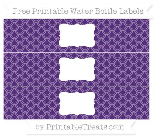 Free Royal Purple Fish Scale Pattern Water Bottle Labels