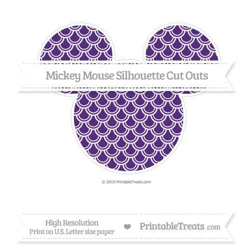 Free Royal Purple Fish Scale Pattern Extra Large Mickey Mouse Silhouette Cut Outs
