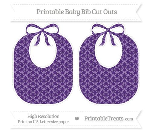 Free Royal Purple Fish Scale Pattern Large Baby Bib Cut Outs