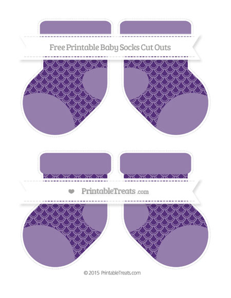 Free Royal Purple Fish Scale Pattern Medium Baby Socks Cut Outs