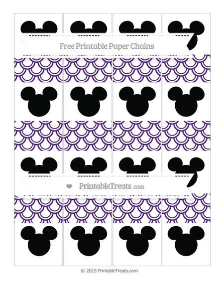 Free Royal Purple Fish Scale Pattern Mickey Mouse Paper Chains