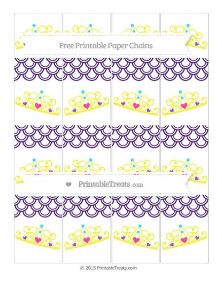 Free Royal Purple Fish Scale Pattern Princess Tiara Paper Chains