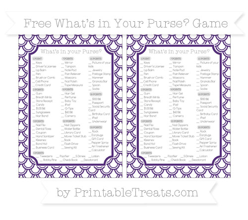 Free Royal Purple Fish Scale Pattern What's in Your Purse Baby Shower Game