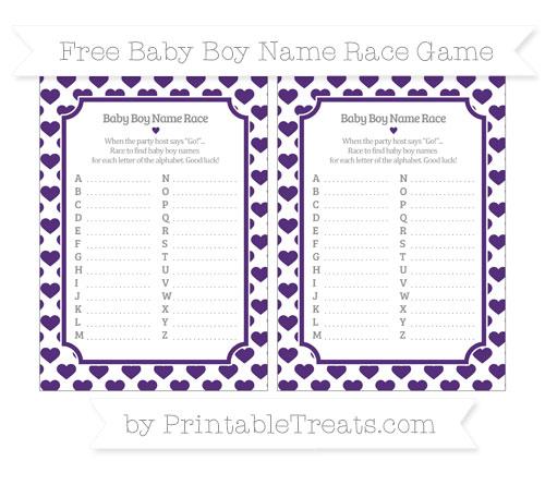 Free Royal Purple Heart Pattern Baby Boy Name Race Game