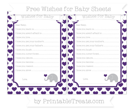 Free Royal Purple Heart Pattern Baby Elephant Wishes for Baby Sheets