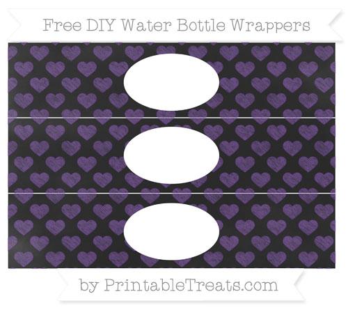 Free Royal Purple Heart Pattern Chalk Style DIY Water Bottle Wrappers