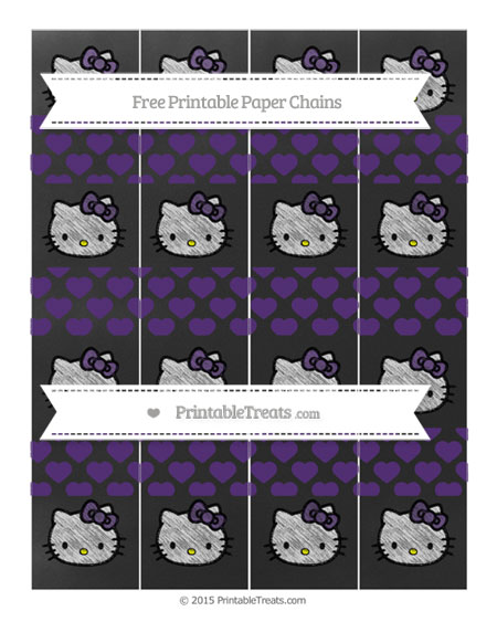 Free Royal Purple Heart Pattern Chalk Style Hello Kitty Paper Chains