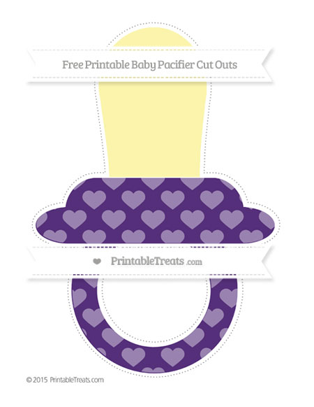 Free Royal Purple Heart Pattern Extra Large Baby Pacifier Cut Outs