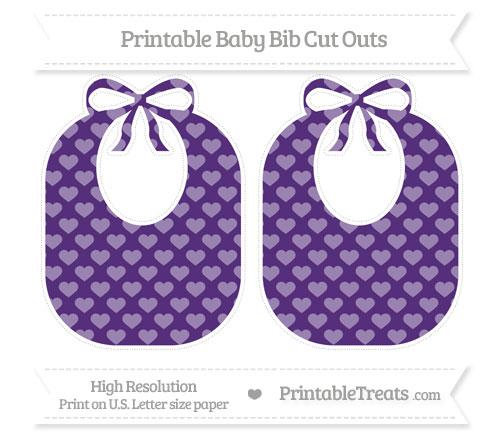 Free Royal Purple Heart Pattern Large Baby Bib Cut Outs