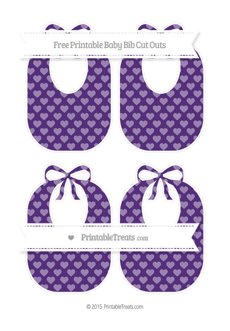 Free Royal Purple Heart Pattern Medium Baby Bib Cut Outs
