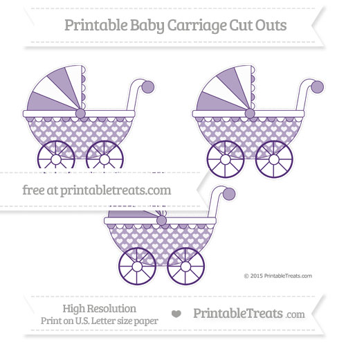 Free Royal Purple Heart Pattern Medium Baby Carriage Cut Outs