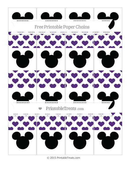 Free Royal Purple Heart Pattern Mickey Mouse Paper Chains